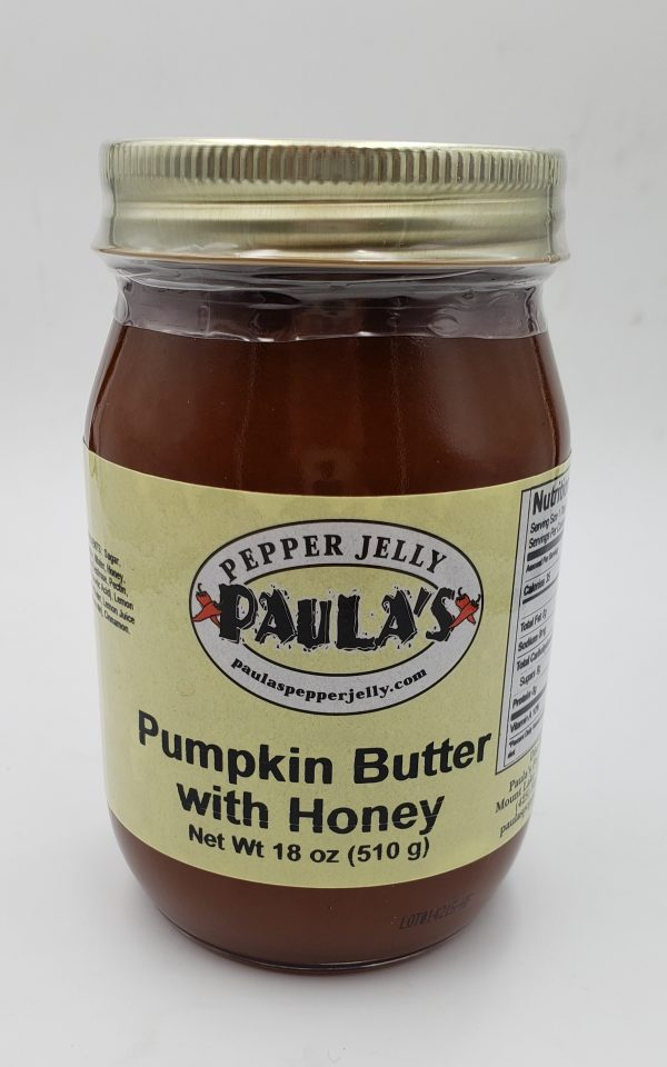 18 oz pumpkin spread jar from Paula's Pepper Jelly label forward.