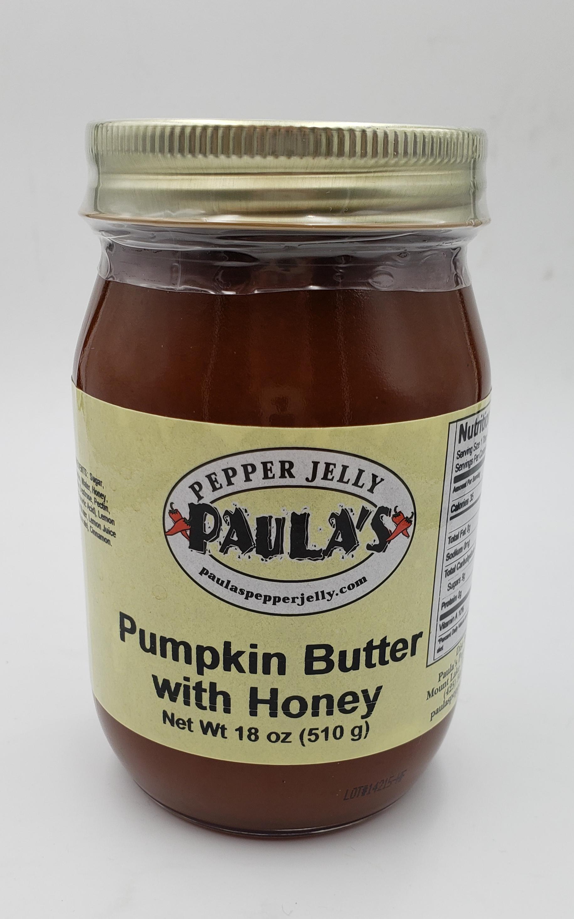 18 oz pumpkin spread jar from Paula's Pepper Jelly label forward.