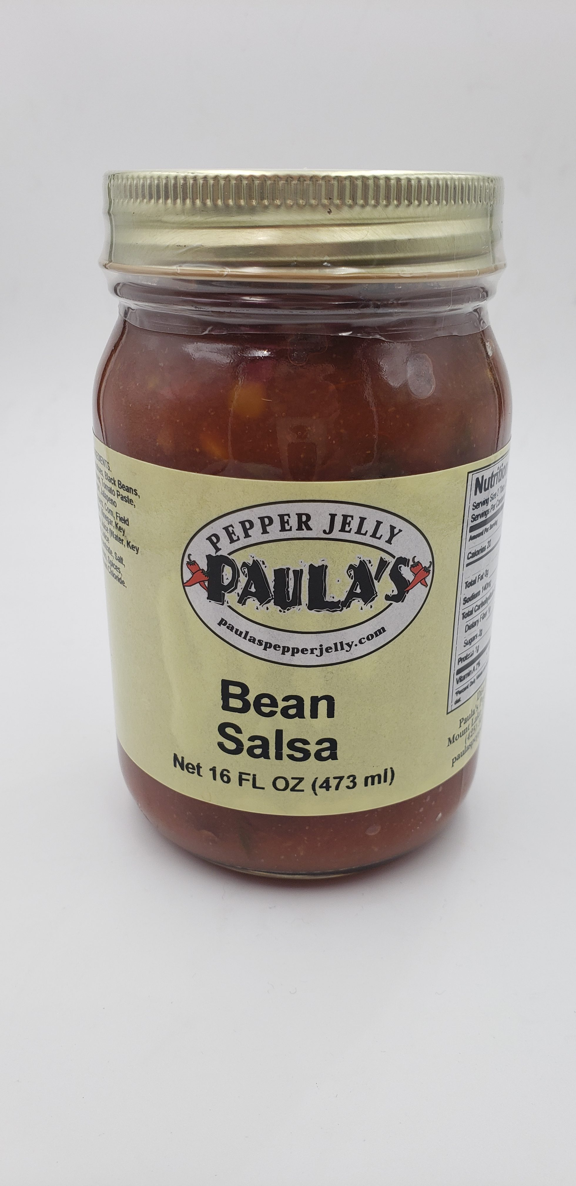 Jar of Paula's Bean Salsa from Paula's Pepper Jelly label out.