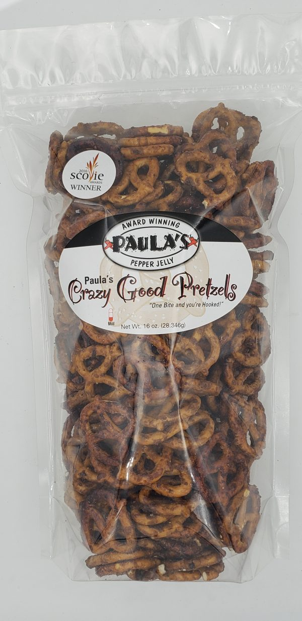 Transparant bag of Paula's Crazy Good spicy flavored pretzels from Paula's Pepper Jelly.